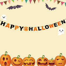 1XHappy Halloween Trick or Treat Party Hanging Banner Decoration Flag Garland FB