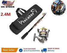 2.4m Piscator Telescopic Fishing Rod and Reel Combo Full Kit Spinning Fishing Re