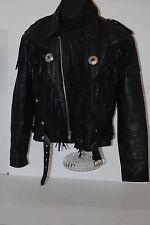 FIRST 80s 90s Black Leather Fringe Western Motorcycle Moto Biker Jacket Women 44