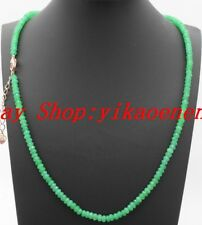 "Rondelle Gemstones Beads Necklace 18""Aaa Natural 2x4mm Green Emerald Faceted"