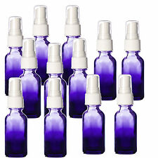 1oz Purple Shaded Glass Bottles with White Fine Mist Spray Tops. NEW 12 Pack