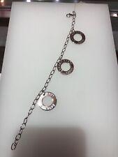 Authentic ELLE Sterling Silver Unique Ruby Bracelet Bangle Rhodium