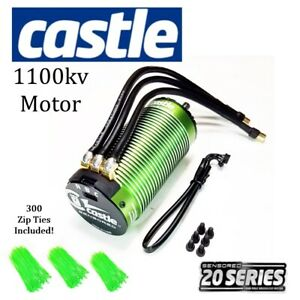 Castle Creations 2028 Series 1100kv Sensored Brushless Motor With 300 Green Ties
