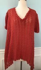 Staring At Stars UO Sz Small Sweater Short Sleeve Open Weave Hi Lo Crochet