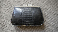Vintage 1920s Black Crockadile Skin Purse with Silver clasp