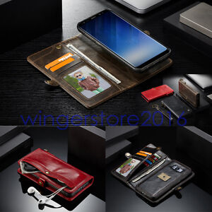 Flip Wallet Case PU Leather Purse Multi-Card Slot Separable Magnetic TPU Cover