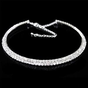 Diamante Choker Necklace 2 Row Rhinestone Silver Crystal Diamond Wedding Bridal
