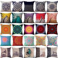 """NE_ 18"""" Vintage Linen Cotton Throw Pillow Case Cushion Cover Home Sofa Decor P"""