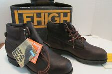 "LEHIGH BOOTS 11.5W Leather Men's POWER CUSHION 6"" BROWN NIB Shock Hazard"