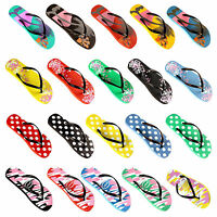 LADIES WOMENS GIRLS BEACH FLIP FLOPS  FOLRAL JELLY SANDALS SHOES SLIPPERS SIZE