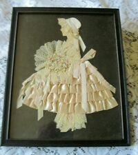 Charming Antique Framed Ribbon & Lace Girl in Pink Stunning Lace