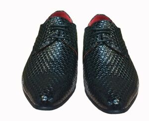 Mens Shoes Black Classy Patent Leather Snake Print Slip On Lace Up Formal Wear