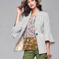 CAbi Ticking Stripe Blazer Jacket Womens 2 White Navy Bell Sleeve Tailored 5295