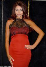 Amy Childs crayon Midi robe 8 Noir Rouge Haut dentelle sexy col haut mariage soirée