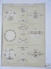 GRAVURE DE 1880 FAIENCES BOURGEOIS SERVICE TABLE ET DESSERT PORCELAINE -