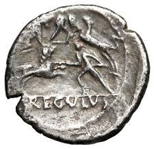 """L Livineius Regulus AR Denarius """"Venatio Scene, Animal Bestiarius"""" 42 BC Rare VF"""