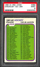 1981-82 opc o pee chee HOCKEY #380 unmarked checklist GRADED PSA 9 MINT 133-264