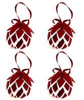 Kurt Adler 4 Christmas Artichoke Ornaments Red White Set Folk Art Primitive