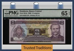 TT PK 80Ab 2000 HONDURAS 2 LEMPIRAS BANCO CENTRAL PMG 65 EPQ GEM UNCIRCULATED