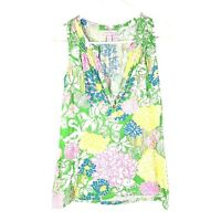 Lilly Pulitzer Colorful Essie V Neck Button Sleeveless Top Womens Sz XXS