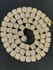Men's Baguette Chain Real Solid 925 Silver 14k Gold Finish Iced Diamonds 18-30""