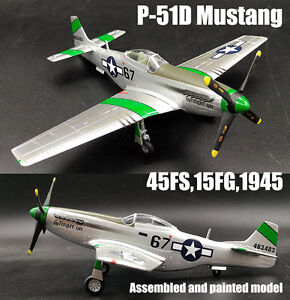 WWII P-51D Mustang 45FS 15FG 1945 aircraft 1/72 plane no diecast Easy model