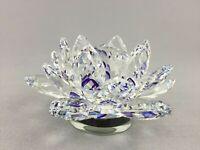 11cm Rotatable Crystal Purple Lotus Flower Wedding Gift Home Decoration