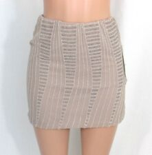 NWT Lauren Conrad Sz Beige Taupe Mini Skirt Chiffon Clear and White Beads Lined