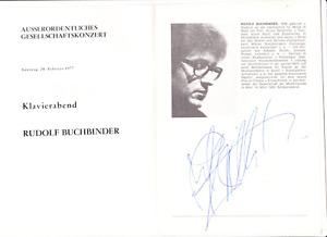 Rudolf Buchbinder signed program Vienna 1977