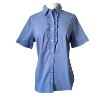 Lands' End Womens 10 Button Down Shirt Top Cotton Short Sleeve Tux Ruffle Front