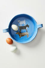 New listing Anthropologie Painted Pup Blue 3-Dog Pie Dish Gemma Orkin New