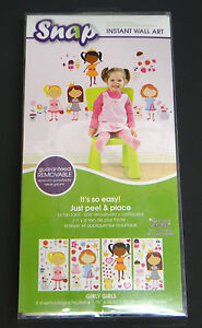 SNAP instant wall art Girly Girl designs 76 decals removable peel & stick
