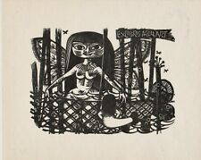 Mark SEVERIN Nixe Exlibris Collart Erotic Butterfly Mermaid Wood Engraving #225