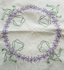 12 vintage embroidered Quilt blocks Squares purple flowers green wreath circle
