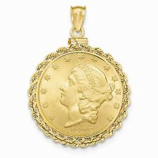 14k Yellow Gold Polished Screw Top 10 Old US Coin Fancy Bezel Mounting Pendant
