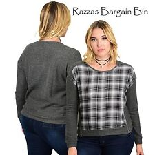 New Ladies Checked Top With Zips Plus Size 14 1XL (1004)NW