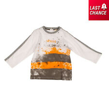 Armani Baby T-Shirt Top Size 9M / 68Cm Faded Paint Splatter Front Long Sleeve