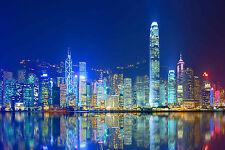 STUNNING HONG KONG CITYSCAPE CANVAS #393 QUALITY FRAMED WALL ART A1