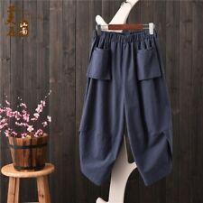 Ladies Retro Harem Pants Cotton Linen Loosen Baggy Pocket Cropped Trousers Slack