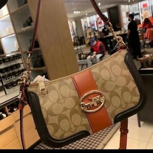 NWT Coach Georgie Baguette In Colorblock Signature Canvas