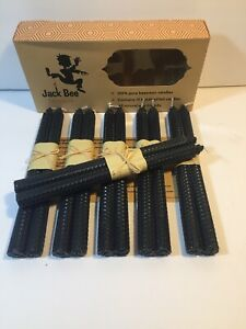 Jack Bee Nimble 100% Pure Beeswax Candles, Set of (12) 10 x 3/4 ,Tapers, (Black)
