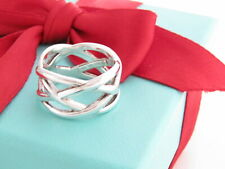 Tiffany & Co Silver Knot Weave Braided Ring Band Size 6