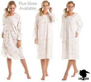 Ladies Plus Size Long Sleeve Winter Nightdress Sleepwear Jersey Sizes 10-36