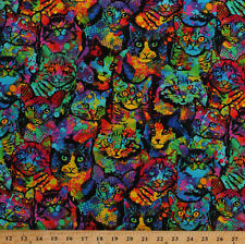 Cats Colorful Paint Splatter Animals Black Cotton Fabric Print by Yard D576.20