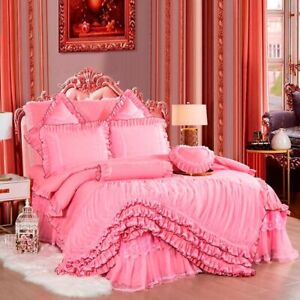 Layers Ruffles Lace Princess Pink Wedding Bedding Set Duvet Cover Bed Skirt NEW
