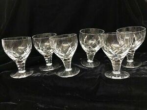 "6 x STUART BEAU PATTERN CRYSTAL WINE GLASSES -  4 3/8"""