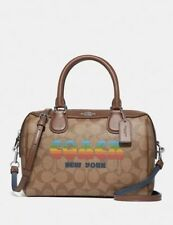 New Coach Mini Bennett Satchel In Signature Canvas With Rainbow Coach