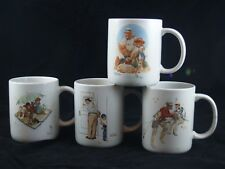 Vintage Norman Rockwell Mugs Museum Collection 1987 Set 4 Cups Fisherman Fishing