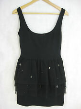 Maurie and Eve Size 4 Black Cotton Party Dress