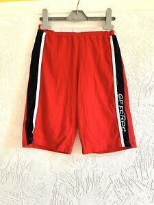 GF FERRE GIRLS AGE 9 - 10 RED BLACK STRIPE CROPPED SUMMER TROUSERS SHORTS